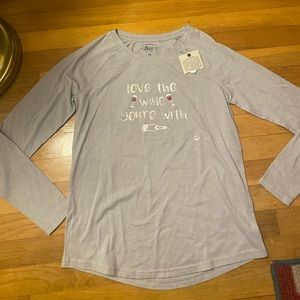 """NWT Bass """"Love the Wine Your With"""" Long sleeve T"""